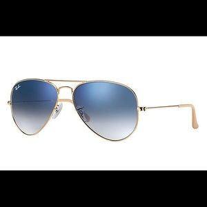 Blue gradient and gold Ray-Ban aviators